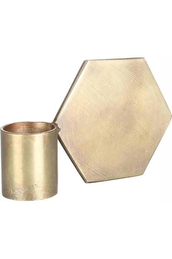 Yaya Home Kaars  Brass Candle Holder Polygon Koper