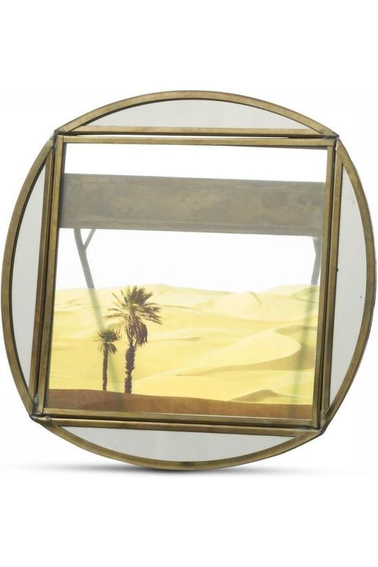 Yaya Home Kader Round Photoframe With Mirror Edge - 15 X 15 Brons