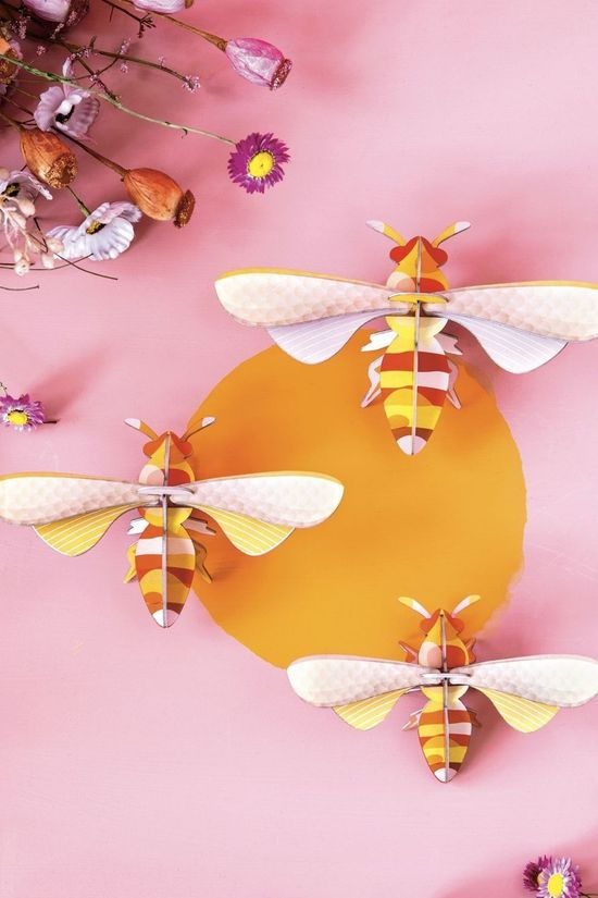 SRO Decoration Honey Bees Set Of 3 Jaune Moyen/Assorti / Mixte