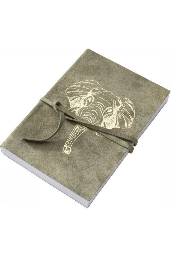 Yaya Home Boeken Suede Notebook With Elephant Foil Print green