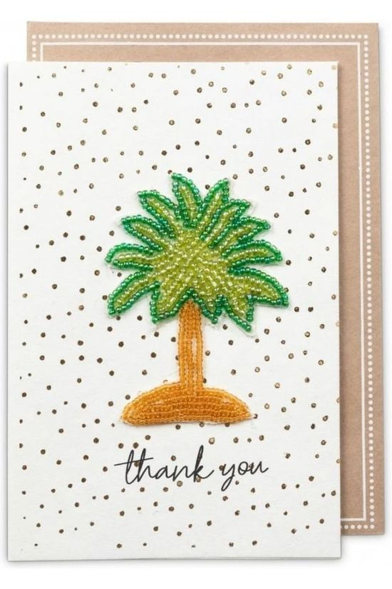 Yaya Home Wenskaart Beaded Patch Postcard Thank You Geen kleur / Transparant