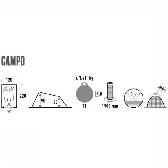 High Peak Tente Pop Up Campo Noir