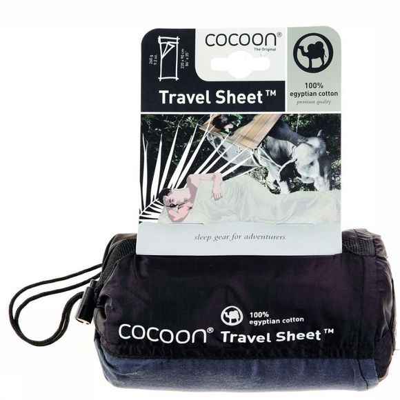 Cocoon Lakenzak Travelsheet 100% Egyptian Cotton Middenkaki
