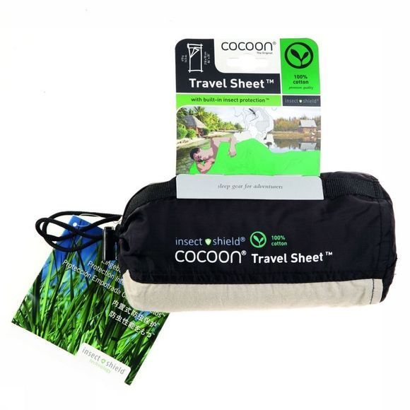 Cocoon Lakenzak Travelsheet Insectshield 100% Cotton Zandbruin
