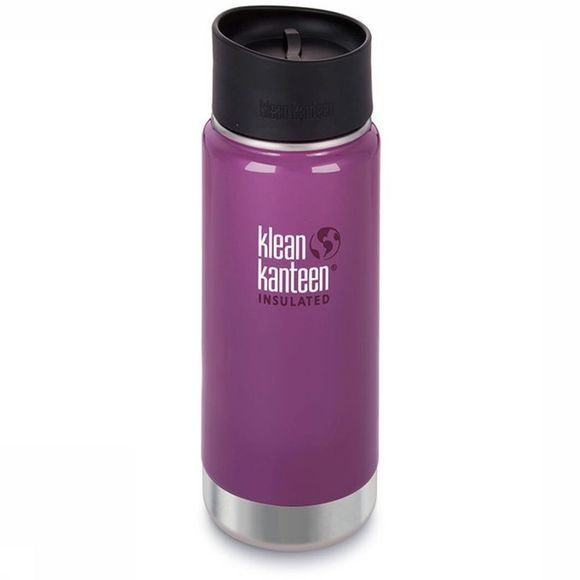 Klean Kanteen Isolation Bottle 16Oz Wide Vacuum Insulated (Café Cap 2.0) purple