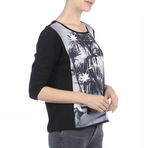 Maison Scotch T-Shirt 3/4 Sleeve Photo Print Zwart/Gebroken Wit
