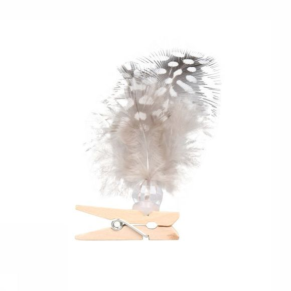 Yaya Home Accessoires Feathers On Clip Bag 2 Pcs 12C Geen kleur/Assortiment