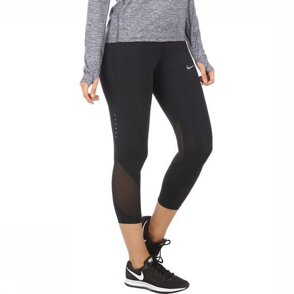 Nike Broek Power Epic Lux Crop Mesh Zwart