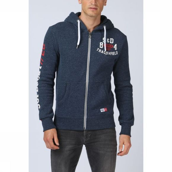 Superdry Cardigan Trackster Ziphood Jeansblauw