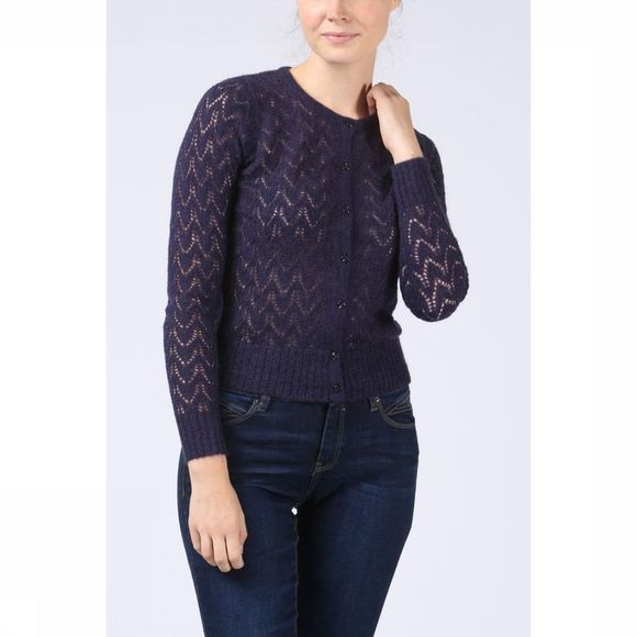 King Louie Cardigan Roundneck Bargello Donkerblauw