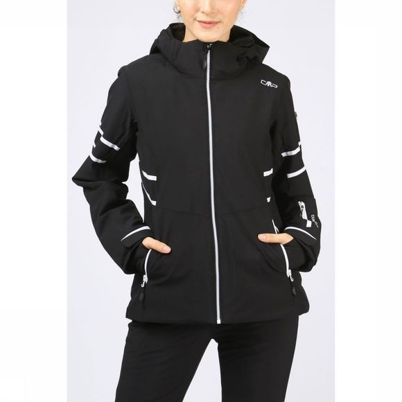 CMP Coat Wmn  Zip Hood Stretch black