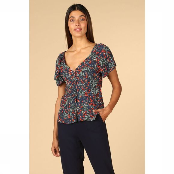 Orfeo Blouse Buffy Donkerblauw/Assortiment Bloem
