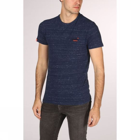 Superdry T-Shirt Orange Label Vintage Embr. Donkerblauw