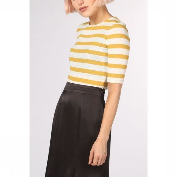 Soft Rebels T-Shirt Evaline Sleeves mid yellow/white