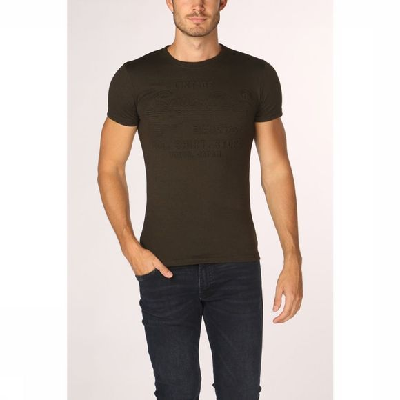 Superdry T-Shirt Shirt Shop Embossed Kaki Foncé