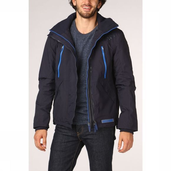 Superdry Manteau Hooded Polar Wind Attacker Bleu Foncé