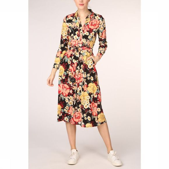King Louie Dress Rosie Midi Carioca black/Assortment Flower