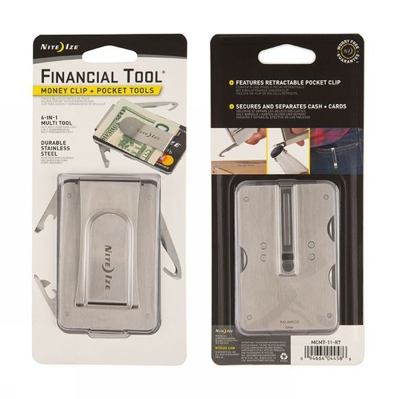 Nite Ize Outil Multifonctions Financial Tool Money Clip+Pocket Tools Argent