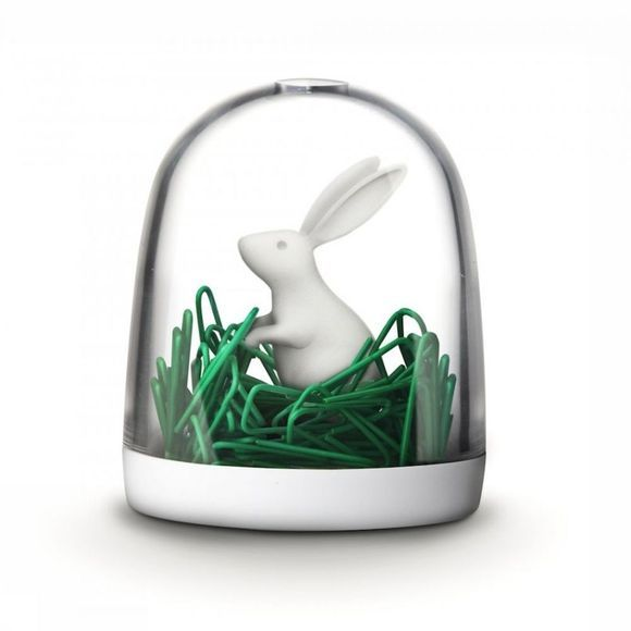 Qualy Gadget Paperclip Dispenser Bunny In The Field Wit/Middengroen