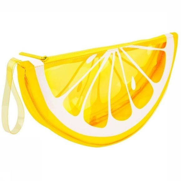 Sunnylife Gadget Lemon See Thru Clutch Donkergeel/Wit