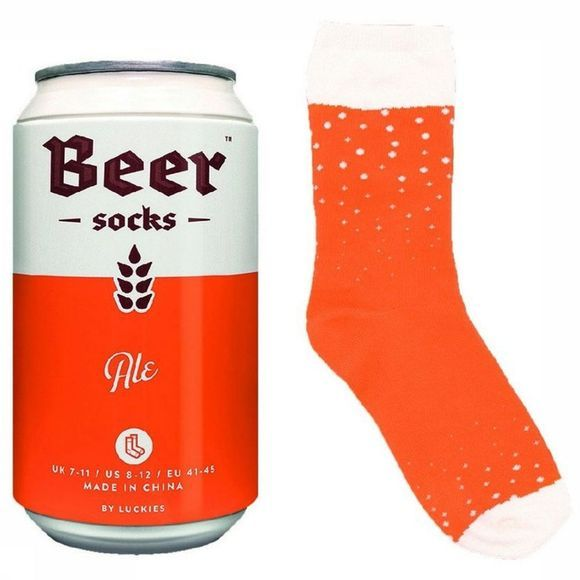 Luckies Gadget Beer Chaussettes Orange/Blanc