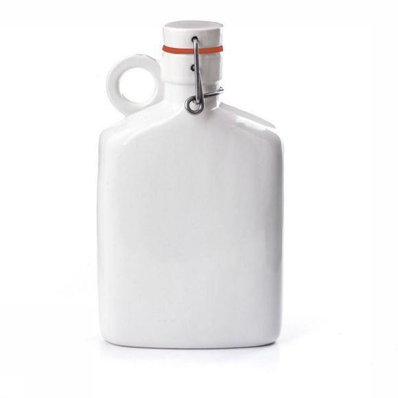 Kikkerland Gadget Medium Brooklyn Flask Wit/Middenrood