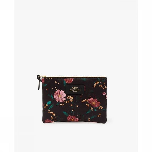 Wouf Black Flowers Large Pouch Noir/Assortiment Fleur