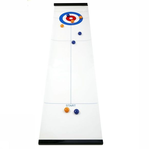 Kikkerland Jeu Table Top Curling Game Blanc/Assortiment
