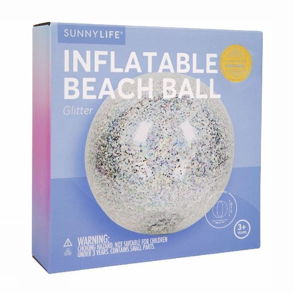 Sunnylife Speelgoed Inflatable Beach Ball Glitter Zilver
