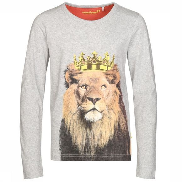 Stones and Bones T-Shirt Skipper Lion Gris Clair Mélange