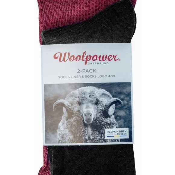Woolpower Kousen 2-Pack Sock Liner And Logo 400gr Zwart/Bordeaux / Kastanjebruin