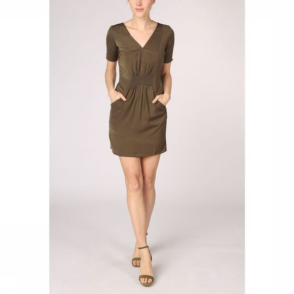 Kaporal Dress V Neck With Zip mid khaki