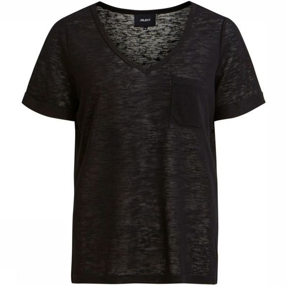 Object T-Shirt Tessi Slub Ss V Neck Noos black