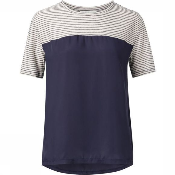 Yaya T-Shirt Jersey Fabric Mix Tee With Stripes Donkerblauw/Gebroken Wit