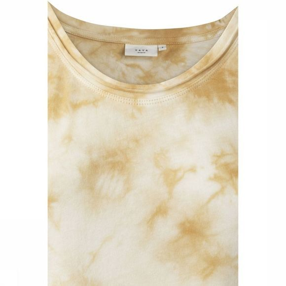 Yaya T-Shirt Cotton Mix Tie Dye Print Lichtgeel/Wit