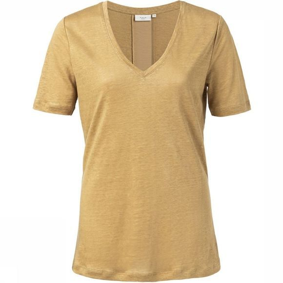 Yaya T-Shirt Linen V-Neck Satin Tape On Back Donkergeel