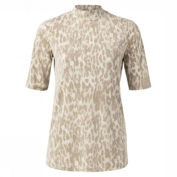 Yaya T-Shirt High Neck Leopard Print Zandbruin/Ecru