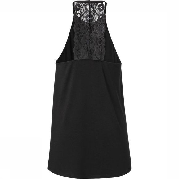 Yaya T-Shirt Halter Top With Lace Detailing On Back Zwart
