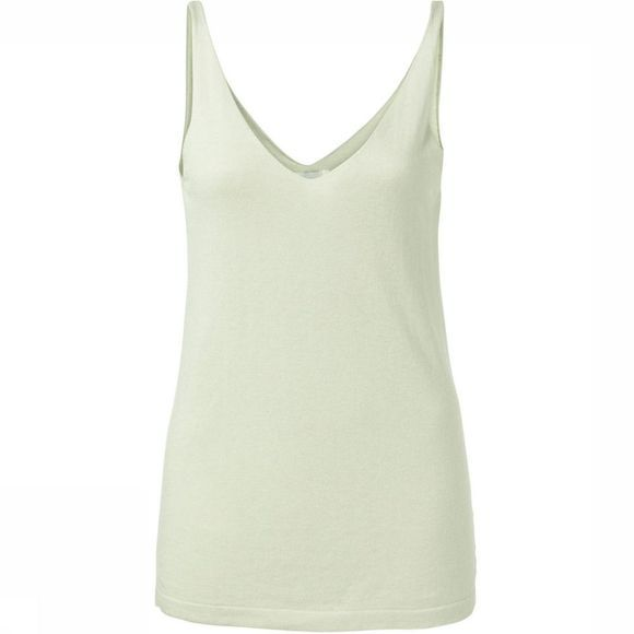 Yaya T-Shirt Knitted Double V-Neck Singlet Lichtkaki