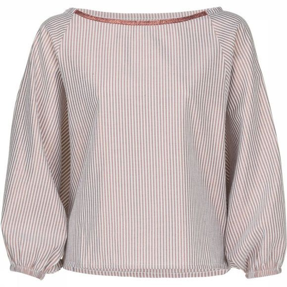 Blouse Woven Metallic Stripe W. Puff Sleeve
