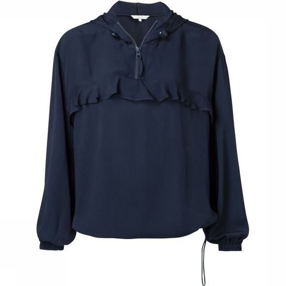 Yaya Blouse Blouson With Hoodie Donkerblauw