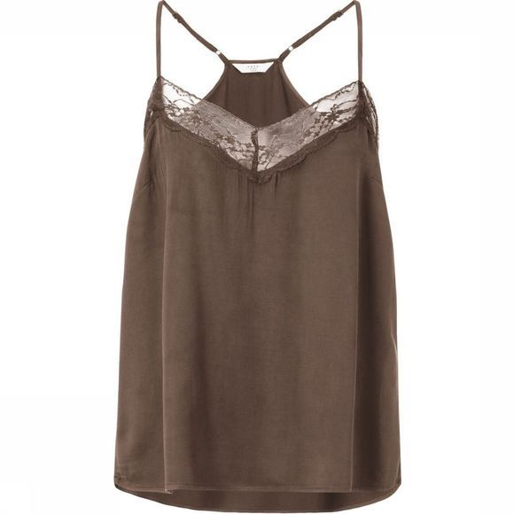 Yaya Blouse Camisole With Spaghetti Straps And Lace Insert Kameelbruin