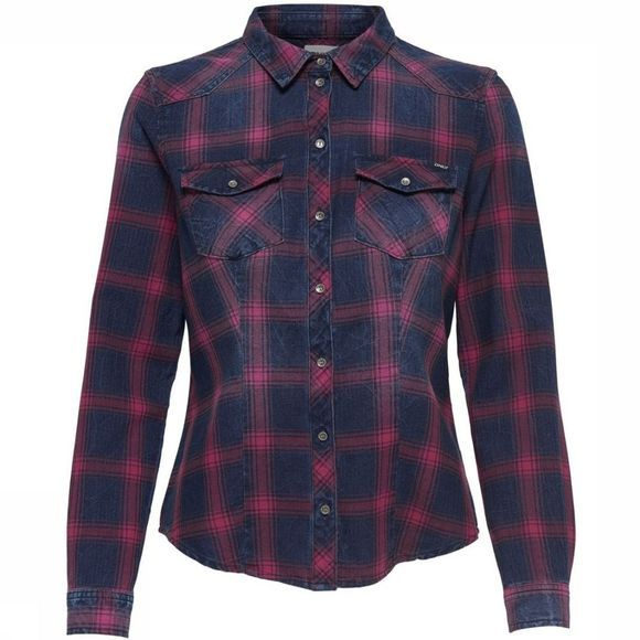 Only Shirt Rock It Fitted Ls Check Dnm dark blue/mid red