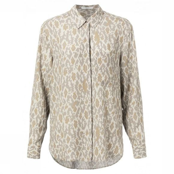 Yaya Hemd Button Up Snake Print Zandbruin/Ecru