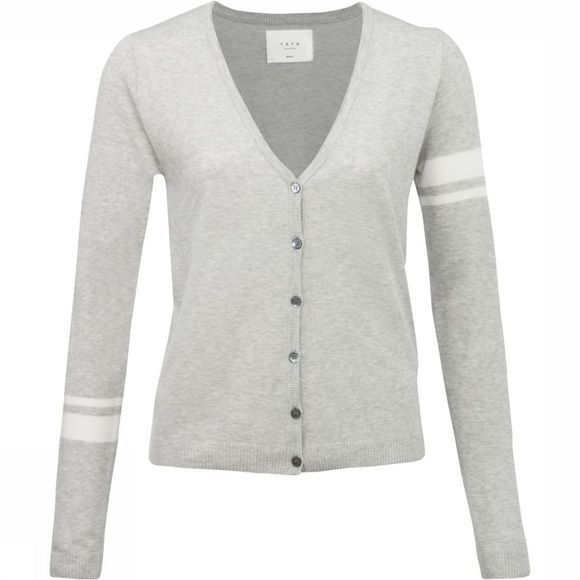 Cardigan Basic W. Contrast Stripes At Sleeves