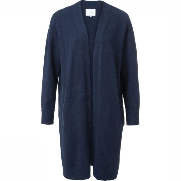 Yaya Cardigan Long Classic With Side Pockets Marineblauw