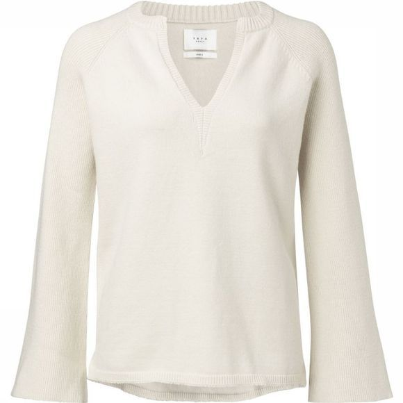 Yaya Trui With Deep Vneck And Ribknit Sleeves Ecru