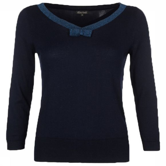 Trui Bow Knit Lapis