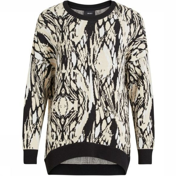 Object Pullover New Margaret Ls Knit off white/black