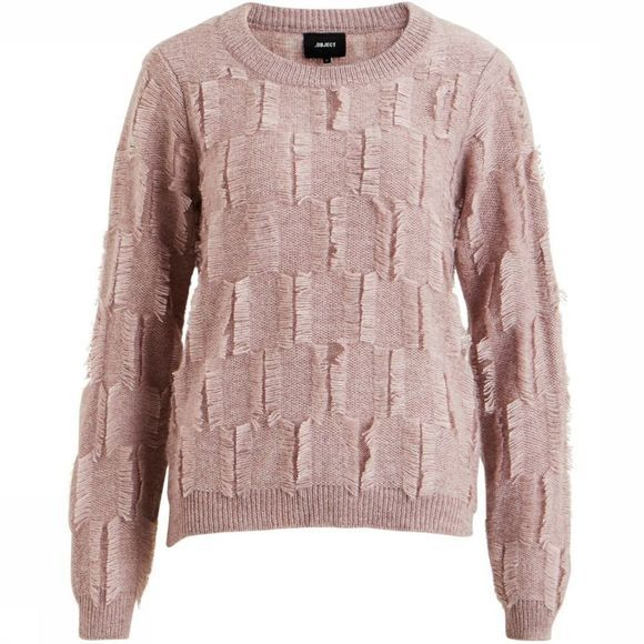 Object Trui Fluffy Ls Short Knit Lichtroze